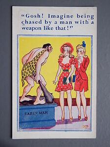 R&L Postcard: Comic, Comicard 2078 Pip, Caveman Statue, Surprised Women