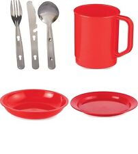 2 Person Camping Picnic Dining Set Plate Mug Bowl and Cutlery RED Plastic