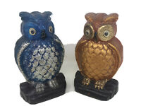"VTG Lucite Resin Owl Bookends Blue Orange Felt Back  MId Century 8.5"" Tall GUC"