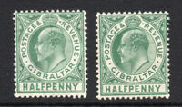 Gibraltar 2 x 1/2d Stamps c1906-11 Mounted Mint Hinged (3011)