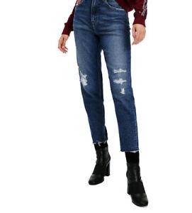 NWOT Tommy Hilfiger Boyfriend Distressed Dark Blue Stretch Jeans Denim Uk12 M