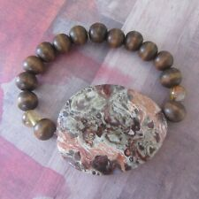 Large Marble Stone Stretch Bracelet with Wood Beads