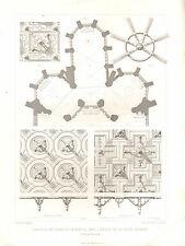 Impression architectural français 1851 ~ Chapelle de la Vierge Ferté Bernard plan