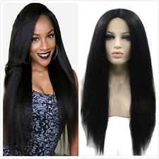 24'' Long Lace Front Wig Yaki Straight Afro Kinky Full Head Wig For Black Women