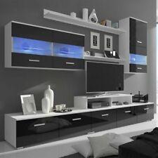 vidaXL 7tlg. Hochglanz Wohnwand mit LED Mediawand TV Schrankwand Schwarz 250 cm