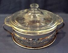 RARE VINTAGE PHILBE CLEAR FIRE KING 1 PINT COVERED DISH W/CHROME TRIVET MADE USA