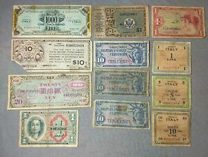 Military Payment Certificates Lot of 12 MPC Mixed Issues Estate Find Collection