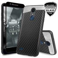 For [LG K30/Premier Pro/Xpression Plus] Magnetic Phone Case+Black Tempered Glass
