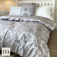 Luxury Silver Grey Floral Quilted 3pc Set Double/King Bedspread Throw Cushions