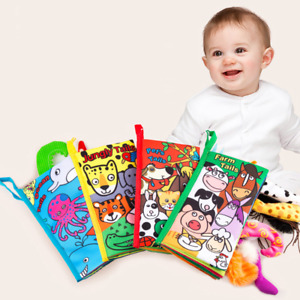 Infant Baby Book Educational Toys 3D Animal Tail Cloth Book For Kids Newborn Sof