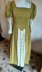 Vintage theatrical Elizabethan dress mustard with inset green floral Medieval 12