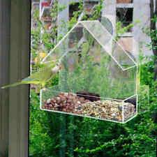 Acrylic Transparent Bird Squirrel Feeder Tray Birdhouse Window Suction Cup