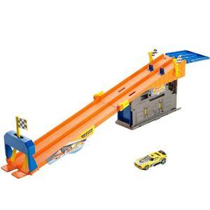 Hot Wheels Pista Macchinine Playset Rooftop Race Garage con Macchinina Giocattol