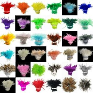"""900 PCS fade Rooster Feathers dyeing 5-6"""" Hackle 12-15 cm Strung Chicken"""