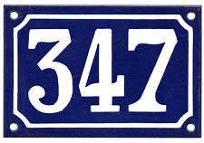 Blue French house number 347 door gate plate plaque enamel steel metal sign