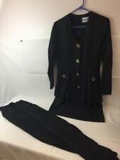 Vtg 1980s Madison Wells Formal Pant Suit Set Blazer Top w Tail - 5/6 Mod Elegant