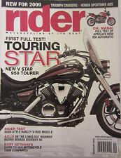 Rider Magazine February 2009 First Full Test Touring Star V Star 950 Honda Sport