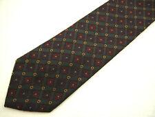 "Etro Milano Mens Necktie Tie Gray Red Gold Geometric Woven 100% Silk 58"""