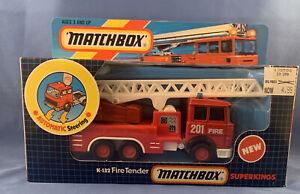 VINTAGE 1992 Matchbox** Superkings K132 Red 201 FIRE TENDER LADDR 1:43 MIB Macao