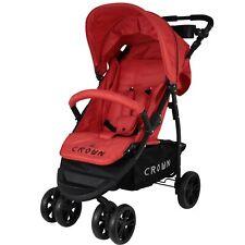 roter Crown Kinderbuggy mit pannensicheren Räder, Kinderwagen Sportbuggy Buggy
