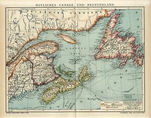 1911 CANADA QUEBEC NEWFOUNDLAND NOVA SCOTIA NEW BRUNSWICK Antique Map dated