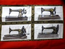 Vintage Sewing Machine Fabric Cotton Craft Quilting Panel - Sewing With Singer