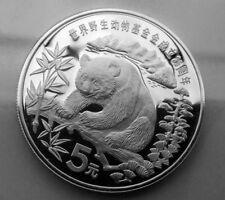 1986 china panda 5 yuan  SILVER zilver wwf 25 years silver silber proof