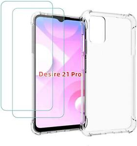 For HTC Desire 21 Pro 5G Case, Clear Silicone Gel Phone Cover + 1 X Screen Glass