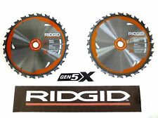 "2 NEW RIDGID GEN5X 7 1/4"" 24 CARBIDE-TOOTH CIRCULAR SAW BLADES 5/8"" ARBOR R8652"