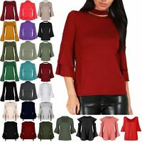 Womens Bell Flared Sleeve Choker High Neck Ladies Double Peplum Ruffle Frill Top