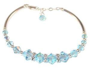 AQUAMARINE Blue Crystal BRACELET Sterling Silver Handcrafted Swarovski Elements
