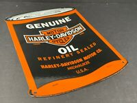 "VINTAGE GENUINE HARLEY DAVIDSON MOTORCYCLE OIL CAN SIGN PORCELAIN 8"" X 11"" GAS"
