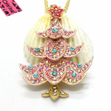 Hot Pink Star Bling Christmas Tree Crystal Betsey Johnson Pendant Women Necklace