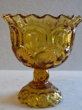 """6"""" Open Compote in Moon and Stars Amber by Smith Glass"""