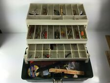 VINTAGE PLANO 6803 LARGE THREE TRAY CANTILEVERED TACKLE BOX PLUS CONTENTS