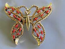 Vintage Gerrry's Orange Enamel Butterfly Brooch Pin