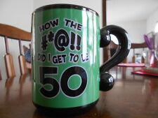 How #*@!! Did I Get to be 50 Mug 16 oz. Stoneware Unique Handle Green Black !