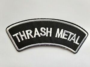 THRASH METAL SEW ON OR IRON ON PATCH. 10CM x 3CM