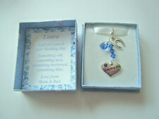 SOMETHING BLUE & SWAROVSKI HEART GOOD LUCK CHARM FOR BRIDE IN PERSONALISED BOX
