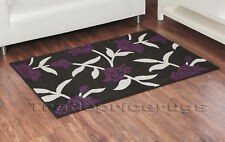 LARGE BLACK BEIGE AUBERGINE PURPLE FLORAL RUG 120x165