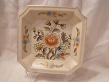 "Andrea Sadek Decorative Bowl Dish Floral With Gold Accent Trim 8"" Square"