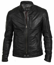 Men's Biker Hunt in Black Stylish Motorcycle Leather Jacket