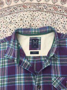 CREW CLOTHING - Purple-Green - Check - Button Cuff - Shirt - XL - New No Tag