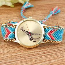 Thread Braided Weaved Womens Butterfly Animal Wrist Watch Bracelet Ladies Gift