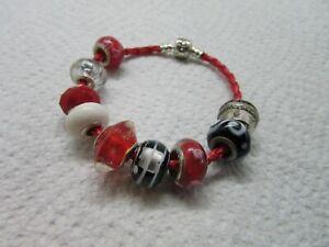 Genuine Pandora S925 ALE Red Braided Leather 7.5 Bracelet w 11 Beads