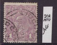 Australia 1d violet KGV with annotation re scratch