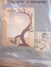 VTG New Columbia Minerva Plastic Canvas Oriental Wicker Mirror w/ Crewel Tree