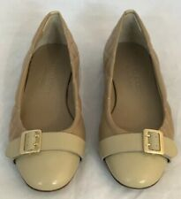 Burberry Women's Avon Quilted Ballet Flat Tan Leather Gold Buckle Sz 37 New