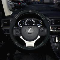 Anti-Slip Black Carbon Fiber Top PVC Leather Steering Wheel Cover for Lexus