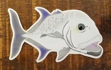 """Fishing Bumper Stickers GIANT TREVALLY 5"""" x 3"""" decals saltwater fly fishing"""